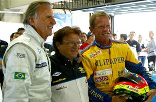 Sid com Wilson Fittipaldi e Ingo Hoffmann. Imagem: Marcelo Spatafora